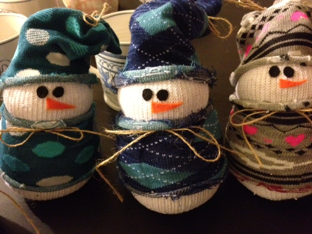 Sock snowmen for Craft ideas for disabled adults