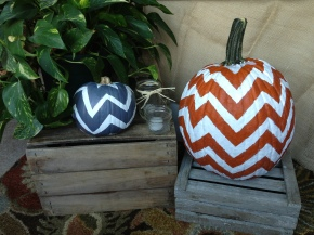 chevron painted pumpkins.